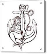 547d824b0 Siren Mermaid Pin-up Girl On Anchor Old-school Tattoo Vector Design Acrylic  Print