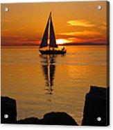 Sister Bay Sunset Sail 2 Acrylic Print