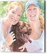 Sisters And Chocolate Lab In Sun Watercolor Portrait Acrylic Print