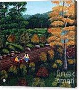 Sister's Autumn Stroll Acrylic Print