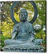 Sitting Bronze Buddha At San Francisco Japanese Garden Acrylic Print