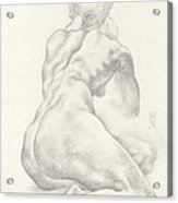 Sitting Female Nude In 4b Graphite With Twin Pony Tails Seen From Behind Looking Up To Her Left Acrylic Print