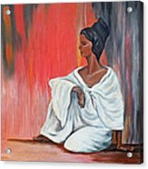 Sitting Lady In White Next To A Red Wall Acrylic Print
