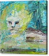 Sitting Lion Oil Portrait Acrylic Print