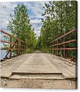 Sitting On Bridge By The Lake Acrylic Print by Jason Brow