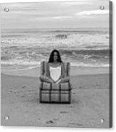 Sittinng On The Beach Acrylic Print by Thomas Leon