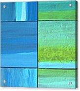 Six Blue Tiles Acrylic Print