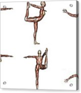 Six Different Views Of Dancer Yoga Pose Acrylic Print