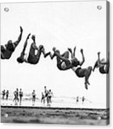 Six Men Doing Beach Flips Acrylic Print