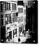 Six O'clock On The Street - Black And White Acrylic Print
