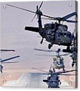 Six Uh-60l Black Hawks And Two Ch-47f Chinooks Acrylic Print