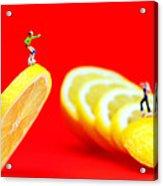 Skateboard Rolling On A Floating Lemon Slice Acrylic Print by Paul Ge