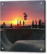 Skateboarding At Venice Beach Acrylic Print