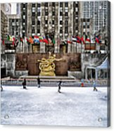 Skating At Rockefeller Plaza Acrylic Print