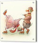 Skating Ducks 5 Acrylic Print by Kestutis Kasparavicius