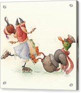 Skating Ducks 8 Acrylic Print by Kestutis Kasparavicius