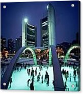 Skating In Nathan Phillips Square, City Acrylic Print by Peter Mintz