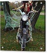 Skeleton Biker On Motorcycle  Acrylic Print