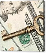 Skeleton Key On Cash. Acrylic Print