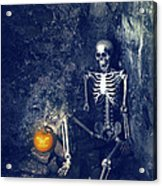 Skeleton With Jack O Lantern Acrylic Print