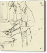 Sketch Of Waiter Pouring Wine Acrylic Print