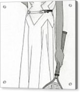 Sketch Of Woman In Tennis Dress Acrylic Print