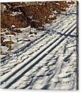 Ski Track In Sunlight In Spring Acrylic Print