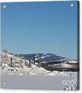 Skidoo Track On Frozen Lake Acrylic Print