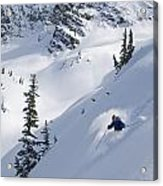 Skier Hitting Powder Below Nak Peak Acrylic Print