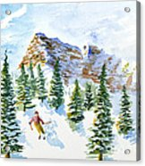 Skier In The Trees Acrylic Print
