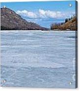 Skiing On Frozen Lake Laberge Yukon Canada Acrylic Print