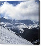 Skiing With A View Acrylic Print by Fiona Kennard