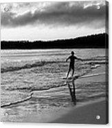 Skimboarder Sunser #1 - Black And White Acrylic Print