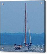 Skipjack Mast Lowering On The Bay Acrylic Print