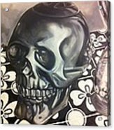 Skull And Hourglass Acrylic Print