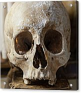 Skull And Old Book Acrylic Print