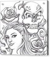 Skull And Roses Acrylic Print