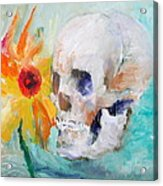 Skull And Sunflower Acrylic Print