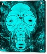 Skull In Negative Turquois Acrylic Print