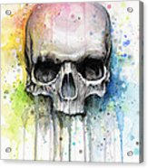 Skull Watercolor Painting Acrylic Print
