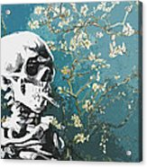 Skull With Burning Cigarette On Cherry Blossom Acrylic Print