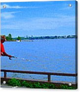 Sky Blue Calm Waters Fisherman On The Pier  Lachine Canal Montreal Summer Scenes Carole Spandau Acrylic Print