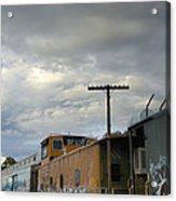 Sky Clouds And Graffiti Old Santa Fe Railyard Acrylic Print