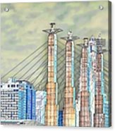 Sky Stations Pylon Caps - Downtown Kansas City Missouri Acrylic Print