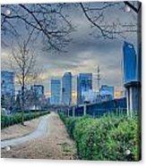Skyline Of A Big City In South - Charlotte Nc Acrylic Print