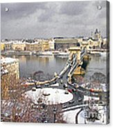 skyline of Budapest with Danube river Hungary  Acrylic Print