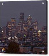 Skylines At Dusk, Seattle, King County Acrylic Print