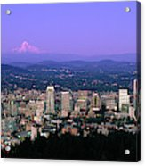 Skylines In A City With Mt Hood Acrylic Print