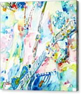 Slash Playing Live - Watercolor Portrait Acrylic Print