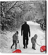 Sledding With Dad Acrylic Print